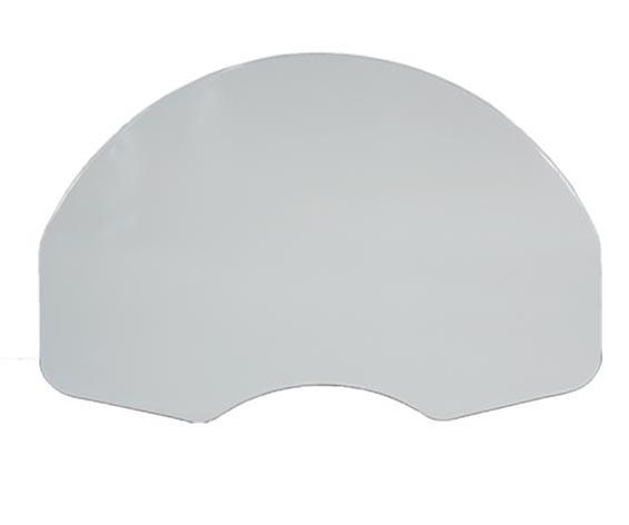 Fan-shaped, white, powder-coated steel backboard